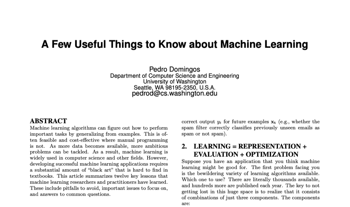 A few useful things to know about machine learning